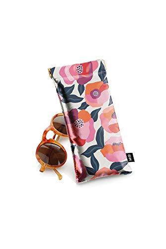 Miquelrius - Funda Gafas - Símil Piel, Cierre flexible, Flores Spring, Color Rosa