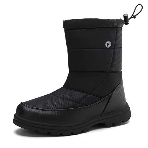Śniegowce męskie damskie zimowe futrzane wyściełane wodoodporne ciepłe buty do chodzenia na zewnątrz antypoślizgowe buty z podeszwą o wysokiej przyczepności (czarne, 40)