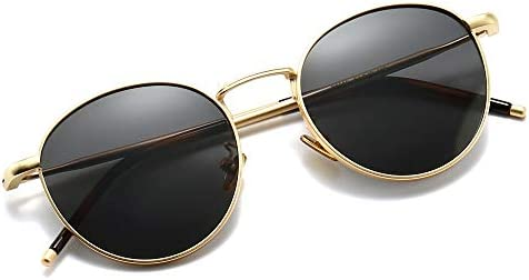 SUNGAIT Polarized Classic Vintage Round Sunglasses For Women Men Full Metal Frame Retro Gold product image