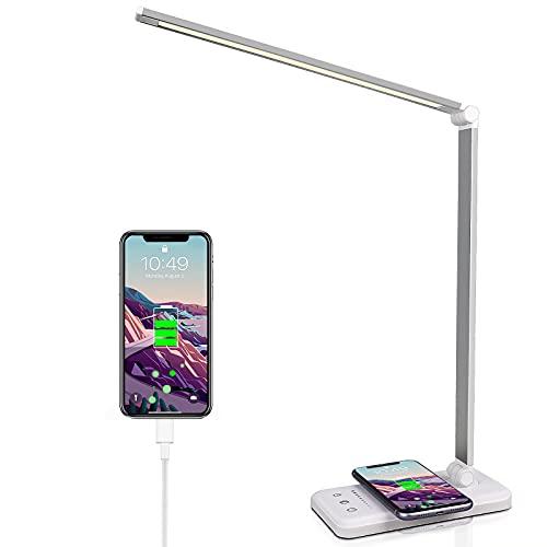 Lámpara de escritorio LED con cargador inalámbrico, 5 colores y 10 niveles de brillo, respetuosa con los ojos, conexión USB, lámpara de mesa para niños [Clase energética A++] (Blanco)