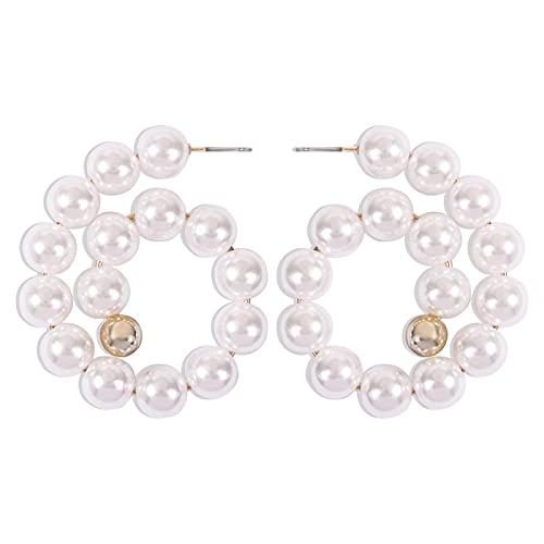AOOF Pendientes de perlas, temperamento retro, estilo de dama, pendientes simples, pendientes geométricos creativos