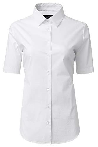 Mujer Camisa Manga Corta, Camisa Blusa Básica Casual de Alg