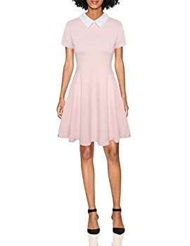 Aphratti Women s Short Sleeve Casual Peter Pan Collar Cute Fit and Flare Dress Pink Small