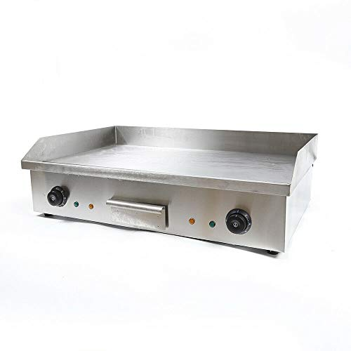 CNCEST Electric Countertop Flat Top Griddle 4400W Non-Stick Commercial Restaurant Teppanyaki Grill Stainless Steel Adjustable Temperature Control Kitchen Hotplate Restaurant Grill Machine 28.6' X 16'
