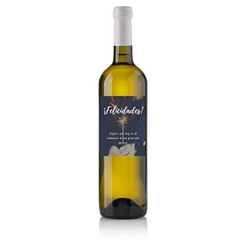 Regalo Original de Cumpleaños - Botella de Vino Tinto Personalizada para Felicitar Cumpleaños (Blanco Verdejo - D. O. Rueda, Etiqueta bengala)