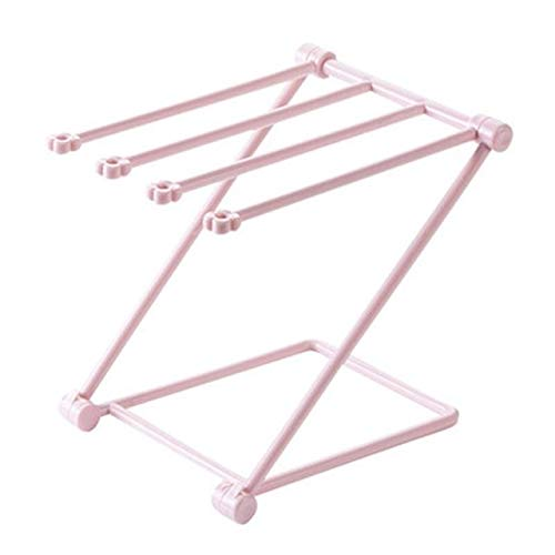 Foldable Vertical Rag Kitchen Towel Plastic Rack Kitchen Storage Drying Items Save Space Multifunctional Small Home Tool 0243 (Color : Pink)
