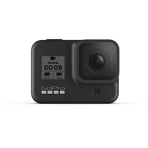 GoPro HERO8 Black - Fotocamera digitale impermeabile 4K con stabilizzazione ipersfondata, touch screen e controllo vocale - Streaming live HD, 12 MP