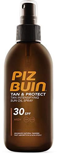 Piz Buin Tan & Protect, Bräunungsbeschleuniger Sonnenöl Spray mit Sonnenschutz LSF 30, wasserfest und schnell einziehend, 150ml