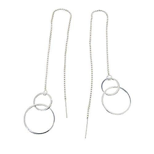 Damen hängende lange Ohrringe Silberohrringe mit Kette zum Durchziehen Ohrhänger Ohrstecker Durchzieher lang mit Kreisen echt Silber 925