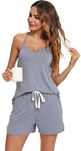 Lovasy Camisones Verano Mujer Pijamas con Cuello en V sin Mangas y Pantalones Cortos con Cordón y Bolsillos Ropa de Dormir PJ Set Pijamas para Mujer