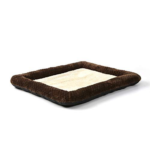 Peto-Raifu ペットクッション ペットベッド ペットソファー マット 小型 中型犬 猫 小動物 寝床 ゲージ敷物 ケーブル柄 洗える もこもこ 暖か ひんやり ふわふわ 通年用 寒さ対策 ペット用品 38x48x5cm ブラウン