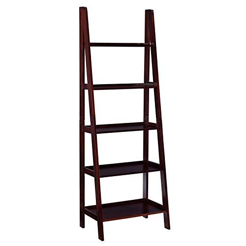 Linon Archdale Wood Ladder Bookshelf in Espresso
