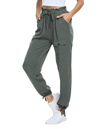andy & natalie Women's Elastic Waist Cargo Drawstring Pants Paper Bag Pockets Ankle Tie Jogger Sweatpants Trouser Green
