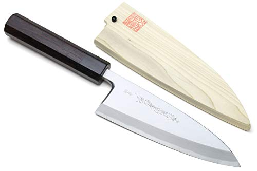 "Yoshihiro Hongasumi Blue Steel #2 Deba Fish Fillet Knife (6"" (150mm), Rosewood Handle)"