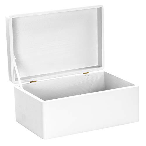 LAUBLUST Holzkiste zur Hochzeit - Florale Raute - Geschenkkiste Personalisiert mit Gravur - ca. 30x20x14cm, Weiß, FSC® - 3