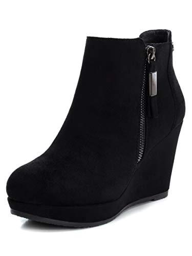XTI Damen Stiefel Basic mit Keilabsatz mit Reißverschluss abknöpfbar - für: Damen, Schwarz - Schwarz - Größe: 40 EU