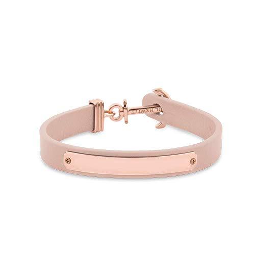 PAUL HEWITT Armband mit Gravur Signum - Personalisierteres Leder Armband Damen (Rosa) individuelle Wunschgravur mit Anker Schmuck aus IP-Edelstahl (Rosegold)