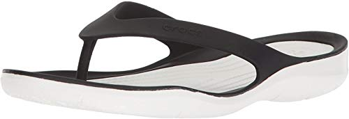 Crocs Damen Swiftwater Flip Women Zehentrenner, Schwarz (Black/White 066), 38/39 EU