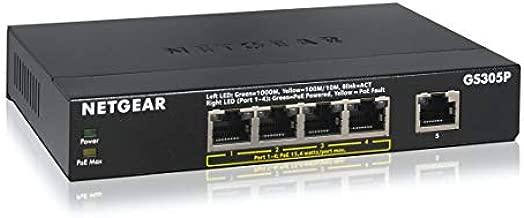 NETGEAR 5-Port Gigabit Ethernet Unmanaged PoE Switch (GS305P) - with 4 x PoE @ 55W, Desktop, Sturdy Metal Fanless Housing
