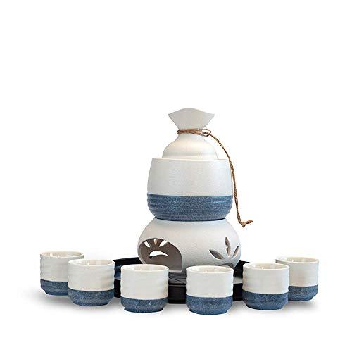 SCJ Juego de Sake Juego de Calentamiento de Sake Juego de Sake de cerámica Material de cerámica, 6 Tazas de Sake, 1 Olla de Sake, 1 Olla de Vino Caliente, 1 Horno de Calentamiento, 1 Bandeja de