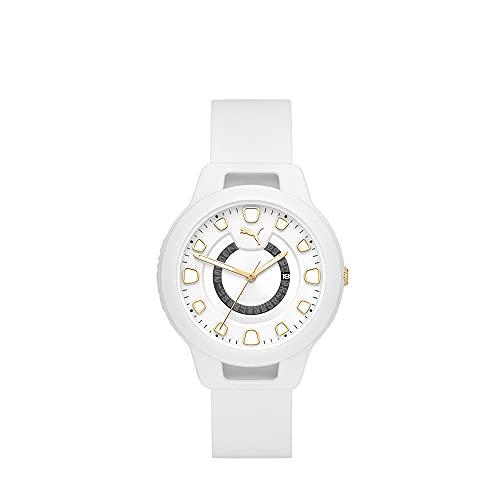 PUMA Damen Reset Date, Weiß Polycarbonate Uhr, P1011