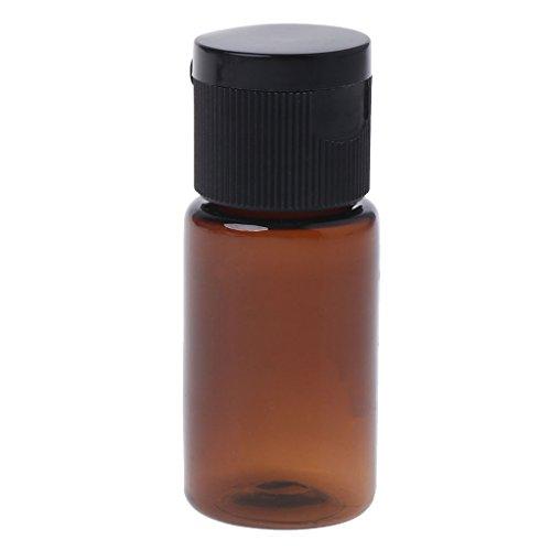 JERKKY Bouteille de Voyage, 15 Millilitre Travel Empty Flip Cap Bottle Makeup Emollient Water Perfume Oil Container Brown