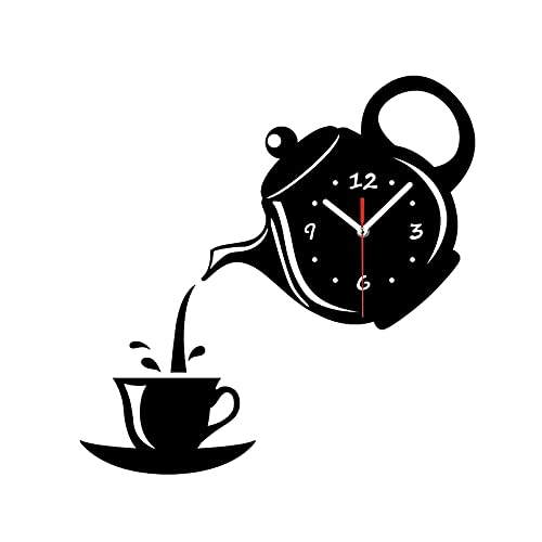 J-Love Reloj Pared Vintage DIY 3D Reloj Pared acrílico Taza café Forma Tetera decoración extraíble para Cocina Sala Estar Comedor decoración del hogar