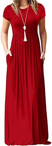 GraceTempt Women's Summer Maxi Dresses Short Sleeve Crewneck Casual Fashion Long Dresses for Women Empire Waist Floor Length Dress-L,Red