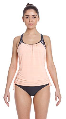 ZeroXposur Womens Tankini Swimsuits Ruched Top Brief Bikini Bottoms Set (Mandala/Apricot, X-Large)