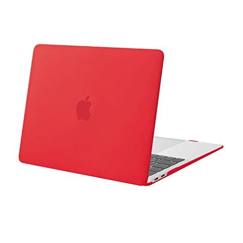 MOSISO Custodia Rigida Compatibile con MacBook Air 13 Pollici 2020 2019 2018 Rilascio A2337 M1 A2179 A1932 Retina Display con Touch ID,Protettiva Plastica Case Cover, Rosso