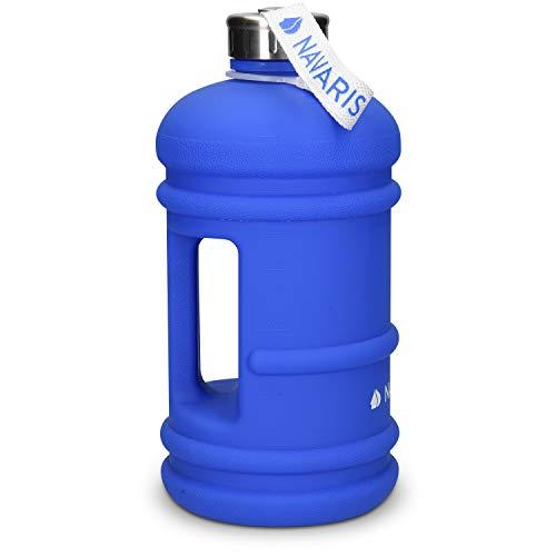 Navaris Botella Deportiva XXL - Bidón de Agua sin BPA - Cantimplora con Tapa y asa - Garrafa Grande de 2.2 litros para Fitness Ciclismo Senderismo