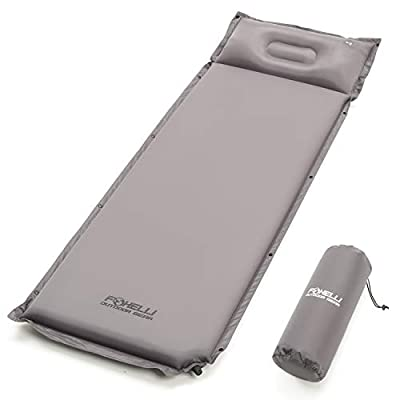 Foxelli Extra Thick Sleeping Pad - Comfortable & Compact Self Inflating Foam Camping Pad with Pillow, Portable, Moisture-Proof Sleeping Mat, Perfect for Travel, Hiking & Backpacking