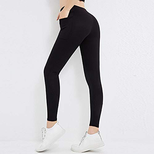 Lankfun Pantalones de Yoga de Control de Abdomen de Cintura Alta,Pantalones de Yoga Ajustados de Cintura Alta con Bolsillos-Black_X-Large,Mallas de compresión de Control de Barriga