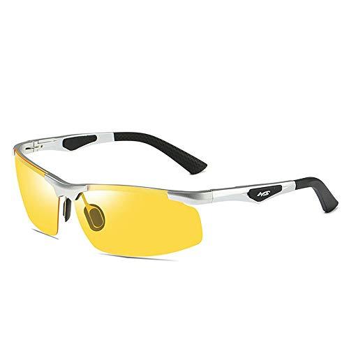 ZoSiP Sonnenbrille Männer Aluminium Magnesium Polarisierte Sonnenbrille Anti-Glare-Sonnenbrille Fährt Aufhellen Nachtsicht Tag Und Nacht Polarisations-Brille (Color : Yellow, Size : ONE Size)