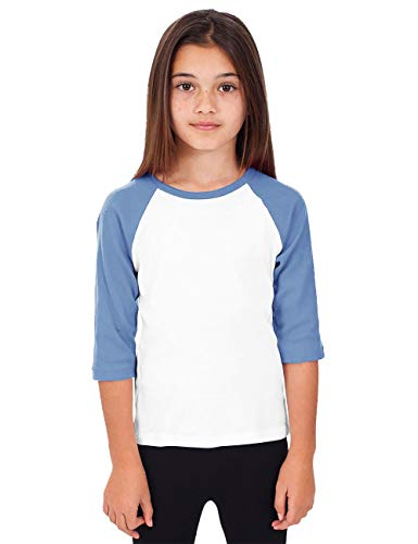 Hat and Beyond Kids Raglan Jersey Child Toddler Youth Uniforms 3/4 Sleeves T Shirts (Small (4-5 Years) (Kid) 5bh03_White/Carolina_Blue)