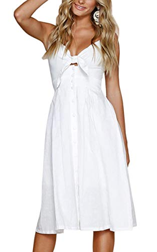 ECOWISH Womens Dresses Summer Tie Front V-Neck Spaghetti Strap Button Down A-Line Backless Swing Midi Dress White XL