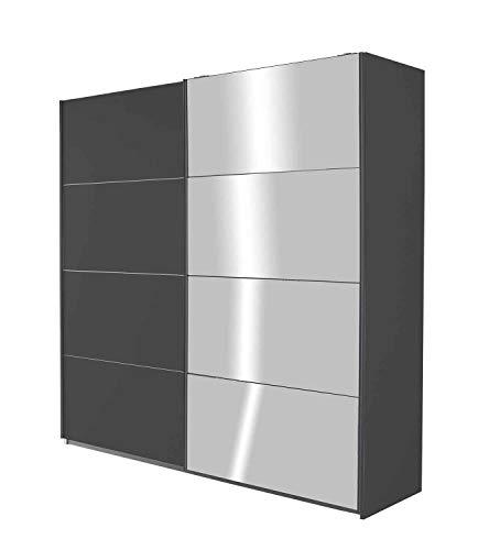 Schwebetürenschrank Kleiderschrank Schlafzimmerschrank Schiebetürenschrank mit Spiegeltür | 2-türig | Dekor | Grau Metallic | BxHxT 181 x 210 x 62 cm