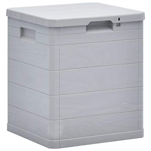 vidaXL Garten Aufbewahrungsbox 90 L Hellgrau Kissenbox Gartenbox Auflagenbox