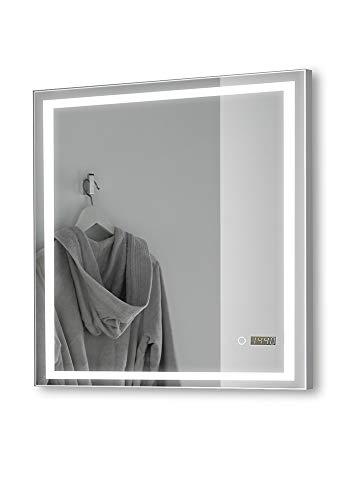 Espejo de baño con iluminación de luz Natural LED Modelo Atenas + Reloj (80x80cm), antivaho para el Cuarto de baño, una Buena iluminación e Incluye Reloj e Interruptor