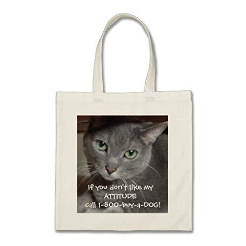 Bolsa de mano con diseño de gato azul ruso y gris