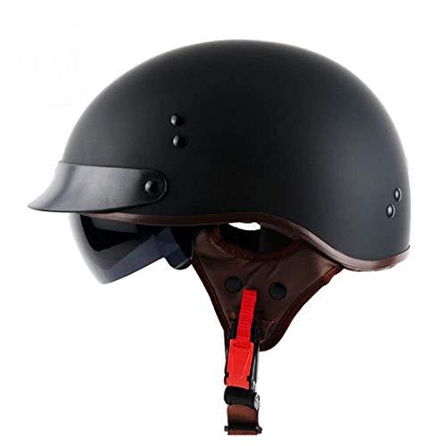 TORC Motorrad Open-Face Halbhelm Mit UV-Schutzbrille Vintage Jet Heavy Cruiser Motorrad-Helm DOT Zertifikat Vier Jahreszeiten Unisex Matte schwarz,L59~60CM