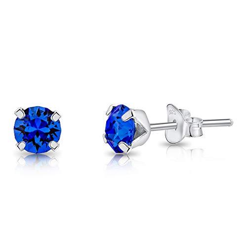 DTP Silver Semental Pendientes/Aretes de Plata de Ley 925 con Cristales Swarovski Elements Pequeños Redondos - Diámetro: 5 mm - Color: Zafiro Azul