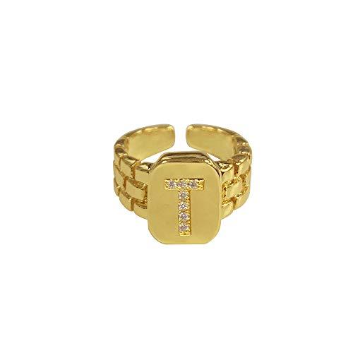 DGSDFGAH Anillo Mujer T Ring Hip Hop Reloj De Anillo con Letra AZ De Oro Ajustable con Correa Cuadrada Anillo Inicial De Mujer para Hombre