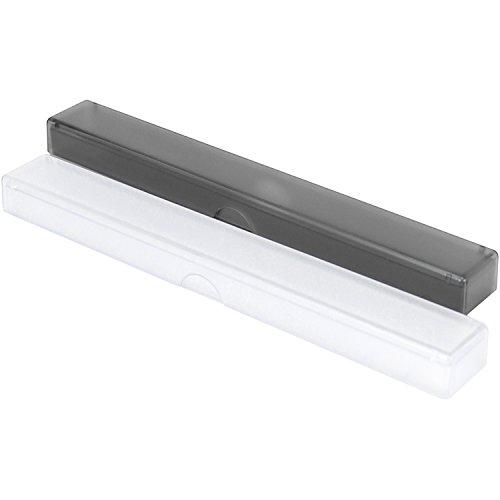 com-four® 2X Zahnbürsten-Etui, Transport- und Aufbewahrngsbox für Hand-Zahnbürsten in transparent und schwarz, 20 cm (20 cm - 02 Stück schwarz + transparent)