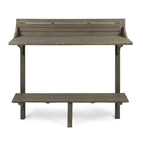 Christopher Knight Home Caribbean Outdoor Acacia Wood Balcony Bar Table, Grey Finish