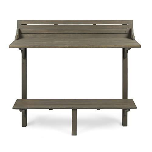 Christopher Knight Home Caribbean Outdoor Acacia Wood Balcony Bar Table, Grey Finish