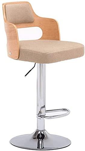 WWJ European bar Chair Lift Rotating Light Luxury bar Chair Wrought Iron European bar high Chair Home bar Stool Dining Chair (Color : Beige)