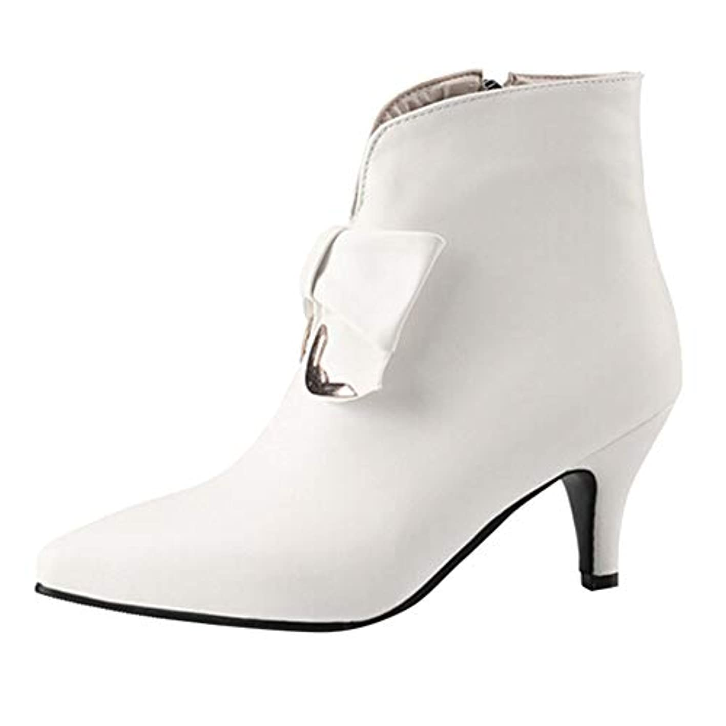 WILLTOO????Women's Pointed Butterfly-Knot Zipper Thin Heels Ankle Boots ukcxpbirjmr597