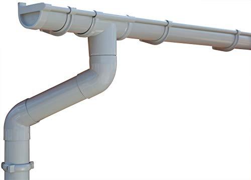 Dachrinnen/Regenrinnen Set | Pultdach (1 Dachseite) | GD16 | in 4 Farben! (Komplettes Set bis 3.50 m, Hellgrau)