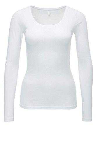 ONLY Damen Langarmshirt Onllive Love New LS O-Neck TOP NOOS, Weiß (White), 42 (Herstellergröße: XL)
